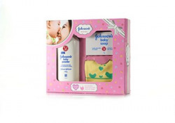 Johnsons Baby Care Collection with Organic Cotton Bib 3 Gift Items Pink