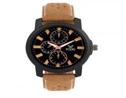 Fogg Analog Black Dial Men's Watch 1057-BK-BR-CK