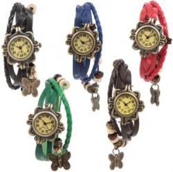 Felizer CK-01 Pack of 5 Multi Strap Fancy Butterfly Bracelet Vintage Analog Watch  - For Women
