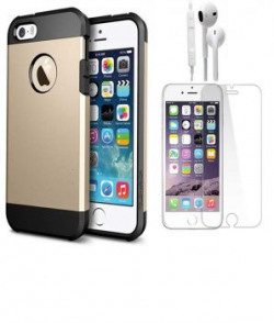 Edgemark Apple Iphone 5g/5s Slim Armor Back Cover Gold With Tempered Screen Glass And One Compatible Headset Handdsfree Earphone