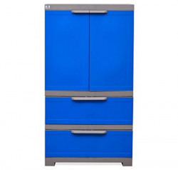 @home by Nilkamal Freedom Cabinet with 2 Drawers (Deep Blue and Grey)