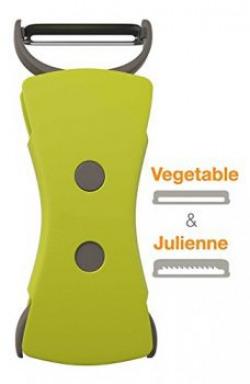 House of Quirk 2 In 1 Vegetable Peeler and Julienne Peeler Set Stainless Steel Blade Perfect for Carrot Apple Fruit Potato Peeler Spiral Vegetable Slicer Spiralizer