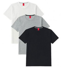 Scott Men's Basic Cotton Round Neck Half Sleeve Solid T-shirts - Pack of 3 - 3RN-BL-WH-GR-L