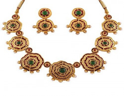 Variation Green Red Enamel Pearl Necklace For Women - VD14168