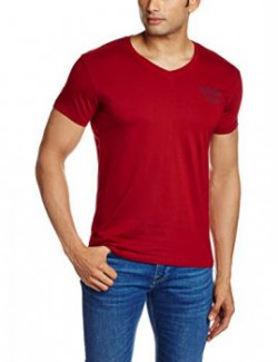 Wrangler Men's T-Shirt (8907222665937_W15012619B94_Large_Maroon)