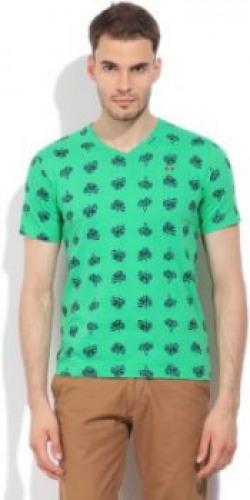 LAWMAN Printed Men's V-neck Green T-Shirt
