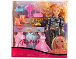 Smiles Creation Beautiful Fashion Doll Set with Outfit Accessories Toy, Multi Color