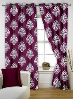 Bedspun Floral 2 Piece Eyelet Polyester Window Curtain Set - 5 ft, Purple