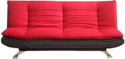 FabHomeDecor Edo Three Seater Sofa cum Bed (Red and Black)