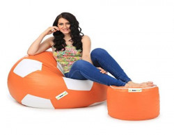 Can Football XL Bean Bag and Pouffe without Beans (Orange and White)