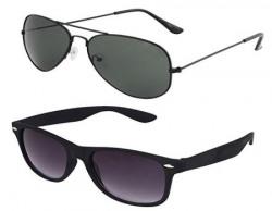 SHVAS UV Protected Aviator & Wayfarer Unisex Sunglasses Combo (AVWFCOMBO|Black)