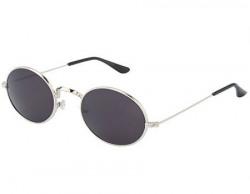 Silver Kartz Classic Round Unisex Sunglasses (wy137 50 Black)