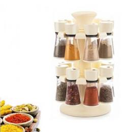 Floraware 16-Jar Revolving Spice Rack Masala Box, Ivory