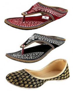 Thari Choice Woman Slipper and Belly (Pack of 3) (Ind/Uk-3 (Eu-36), Multi Color 1)