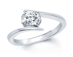 Vk Rhodium Plated Solitare Ring For Women - Fr1028R Size 10 [Vkfr1028R10]
