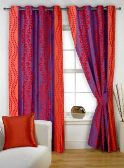 Story@Home Nature Premium Contemporary Polyester Eyelet 2 Pieces Window Curtains, 5 ft, Maroon