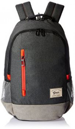 Gear Polyester 24 Ltrs Charcoal Grey-Orange Casual Backpack (BKPCMPUS80406)