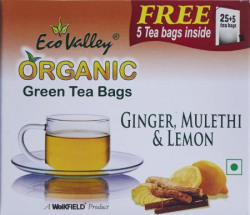 Eco Valley Organic Green Tea, Ginger, Lemon and Mulethi, 25 Tea Bags (Free 5 honey Sachets Inside)