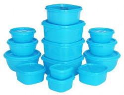 Princeware SF Plastic Storage Container Set, 14-Pieces, Blue