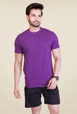 Lucfashion Purple Solid T Shirt