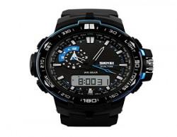 Skmei Analogue-Digital Black Dial Men'S Watch 1801-Blu