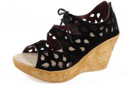 Thari Choice Woman and Girls Synthetic Velvet Wedges Heel Sandal (38, Black).......... SKU : BK LS 38