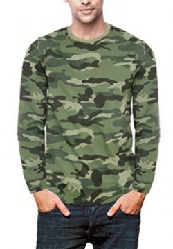 WYO Indian Army Plain Round Neck Full Sleeves Camouflage T Shirt For Men - M