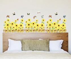 UberLyfe Yellow Sunflowers Border Wall Sticker (Wall Covering Area: 50cm x 105cm) - WS-001371