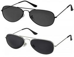 Silver Kartz Classic Aviator Combo for Unisex Sunglasses (AV001-0040|50|Black)