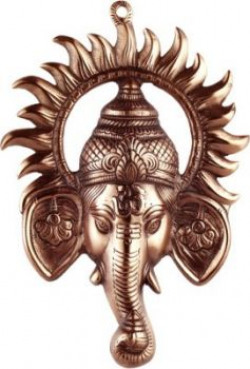 Sri Alankar Black Metal Ganesh Ji With Suraj Ji Showpiece - 30 cm