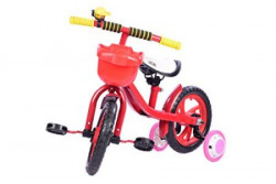 Planet of Toys Metal Frame Cycle -Front Basket, Supporting Wheels (Red)