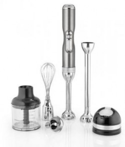 KitchenAid Pro Line 5 Speed 5KHB3581DMS Cordless Hand Blender with Rechargeable Lithium Ion Battery,3 Blades, 2 Removable Blending Arms,Whisk Chopper & Storage Case (Medallion Silver)