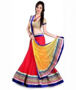 Vedika Fashion Red Net Lehenga
