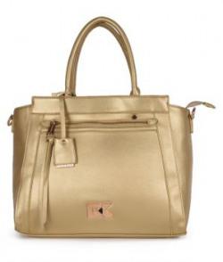 Diana Korr Gold Faux Leather Shoulder Bag
