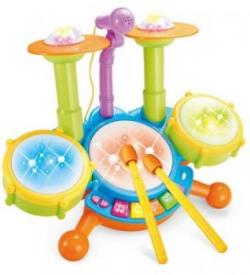 Montez Dynamic Jazz Fun Beats Musical DRUM SET With Mic For Kids Toys