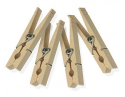 Honey-Can-Do Wooden Clothespins with Spring (Brown, Set of 24)
