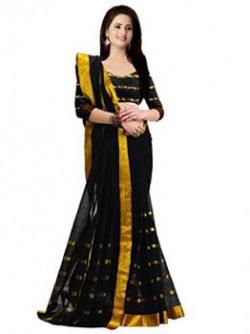 Trendz Women's Cotton Silk Saree (TZ_Rockon_Black_Free Size)