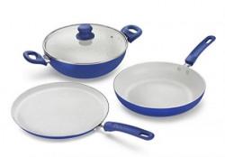 Prestige Marble Induction Base Non- Stick Aluminium Kadai Set, 3-Pieces, Blue