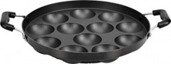 Tosaa 12 Cavity Appam Patra Side Handle without Lid, Black