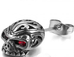 Yellow Chimes Single Silver Metal Skull Stud Earrings For Boys And Men