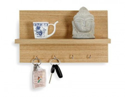 Forzza Mia Wall Shelf with Key Holder (Matte Finish, Teak)