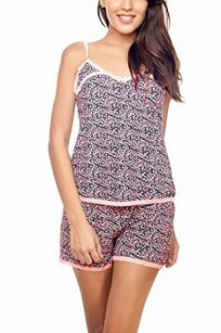 Penny by Zivame Women's Cotton Pyjama Set (56325076 - Baby pink floral_Large)