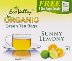 Eco Valley Organic Green Tea, Sunny Lemony, 25 Tea Bags (FREE 5 Tea Bags Inside)