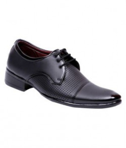 Aadi Black Derby Artificial Leather Formal Shoes