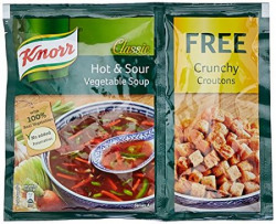Knorr Soup Hot and Sour Veg Pouch, 51g Free Crunchy Croutons
