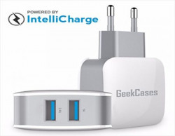 GeekCases Blaze Mini Universal Charger ( Fast Charge - 3.4A - 17W / 2 USB Ports / IntelliCharge / Auto-ID) with Surge and Over-charge protection for Apple, Samsung, HTC, LeeCo, Xiaomi,Motorola, Vivo, Oppo
