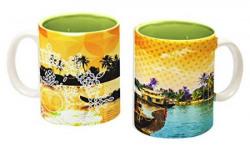 Tangerine Indie Tadka Kerala Porcelain Mug Set, 250ml, Set of 2, Multicolour
