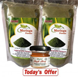 FREE HOME DELIVERY TODAY-Save Rs.263/-_ Today. Organic Moringa Herbal Powder 100 Gmsx2 Packs (Buy 1, Get 1 FREE OFFER TODAY)+Rs.49/- Free Jungle Forest Honey