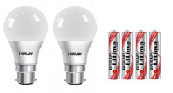 Eveready Base B22D 5-Watt LED Bulb (Pack of 2, Cool Day Light) with Free 4 AAA Alkaline Batteries