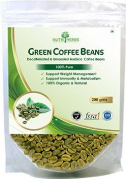 Nutriherbs Green Coffee Beans Decaffeinated & Unroasted Arabica Grade  A  Pure Coffee Beans - 200 gm for Weight Management (pack of 1)